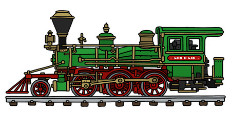 steam locomotive: Hand drawing of a classic green american steam locomotive