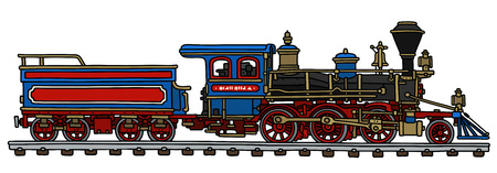 tender: Hand drawing of a classic american steam locomotive with a scuttle