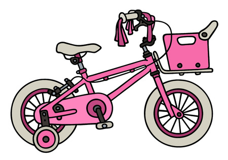 velocipede: Hand drawing of a pink child bike Illustration