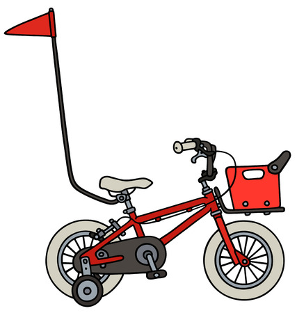 velocipede: Hand drawing of a red child bike Illustration