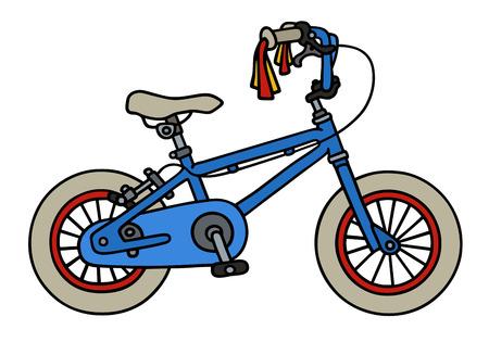 手描きの青い子のバイクの  イラスト・ベクター素材