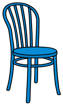 chair wooden: Hand drawing of a classic blue wooden chair