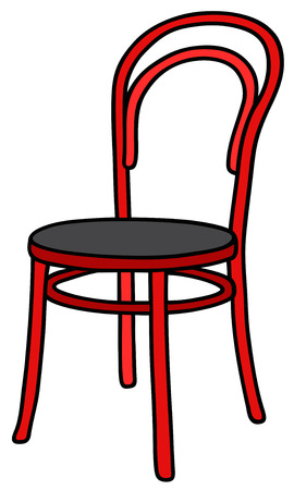 Hand drawing of a classic red wooden chair