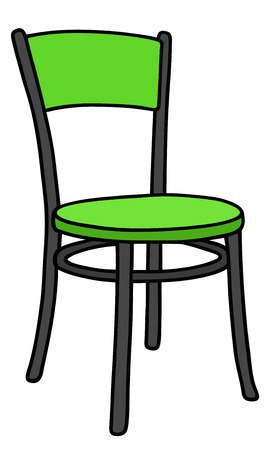 wooden stool: Hand drawing of a green and black chair