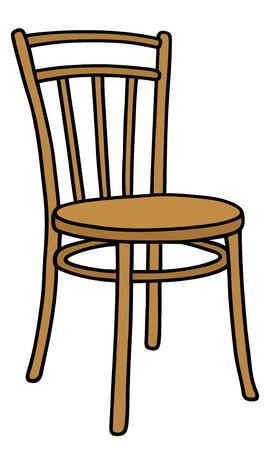 wooden stool: Hand drawing of a classic wooden chair