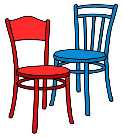 Disegno a mano di due classici sedie di legno blu e rosso