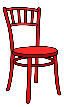 chair wooden: Hand drawing of a classic red wooden chair