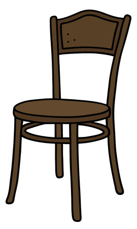 Hand drawing of a vintage dark wooden chair Illustration