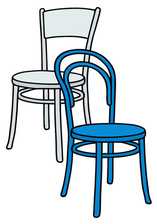 Disegno a mano di classici sedie di legno blu e bianco
