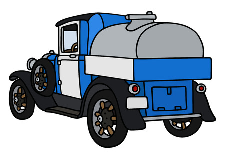 tank car: Hand drawing of a vintage dairy tank truck - not a real model