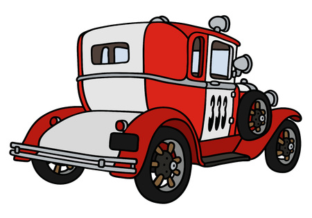 patrol car: Hand drawing of a vintage small fire patrol car - not a real model