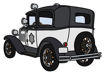 Disegno a mano di una macchina della polizia d'epoca - non un vero e proprio modello Vettoriali