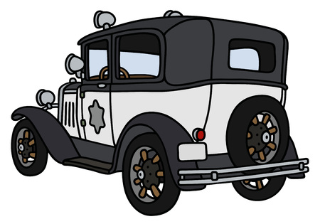 police car: Hand drawing of a vintage police car - not a real model