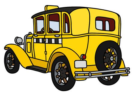motor de carro: Gr�fico de la mano de un taxi de la vendimia - no es un modelo real