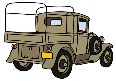 Hand drawing of a vintage military truck - not a real model