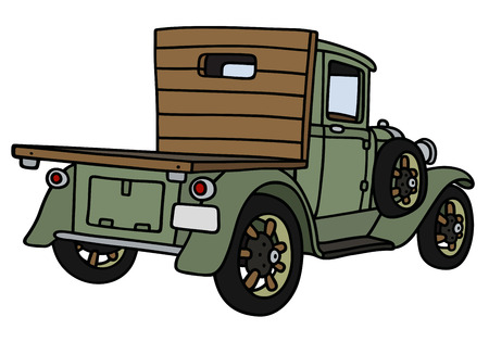 hand truck: Hand drawing of a vintage green lorry truck - not a real model
