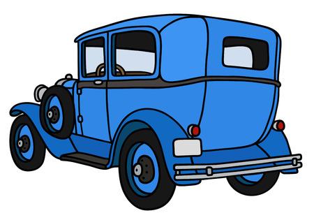 motor de carro: Gr�fico de la mano de un coche azul del vintage - no es un modelo real