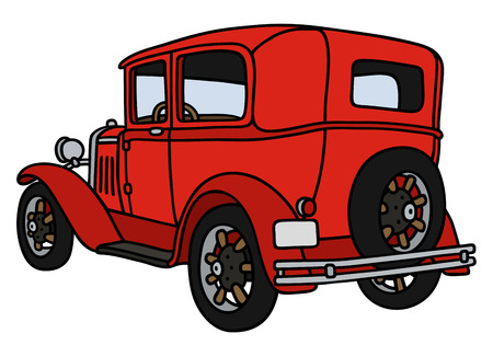 oldtimer: Hand drawing of a vintage red car - not a real model
