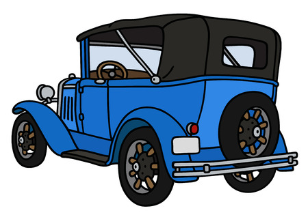 oldtimer: Hand drawing of a vintage blue convertible - not a real model Illustration