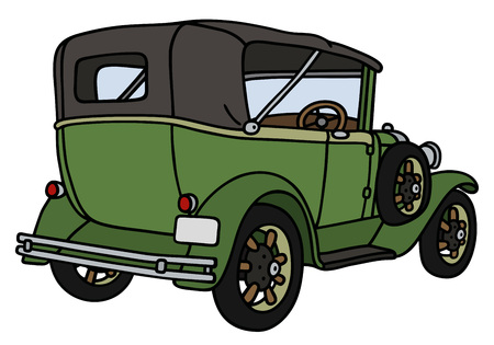 Hand drawing of a vintage green convertible - not a real model