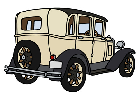 oldtimer: Hand drawing of a vintage cream limousine - not a real model