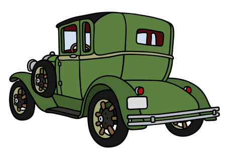 oldtimer: Hand drawing of a vintage green coupe - not a real model Illustration