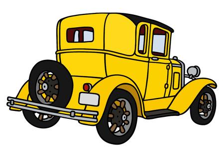 motor de carro: Gráfico de la mano de un coupé amarillo de la vendimia - no es un modelo real