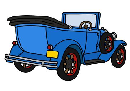 Disegno a mano di un epoca cabriolet blu - non un vero e proprio modello