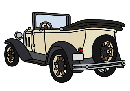 cabriolet: Hand drawing of a vintage cream cabriolet - not a real model Illustration