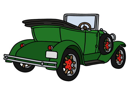 Hand drawing of a vintage green cabriolet - not a real model Illustration