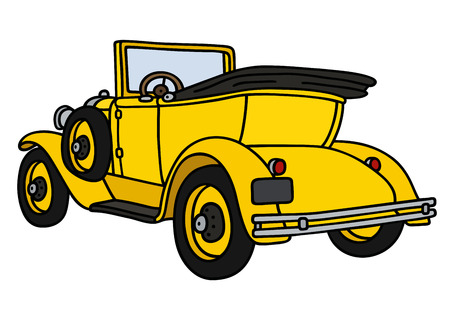 convertible car: Hand drawing of a vintage yellow cabriolet - not a real model Illustration