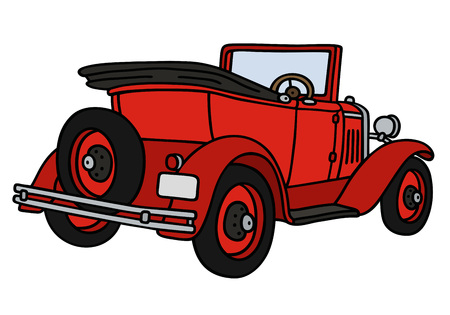 convertible car: Hand drawing of a vintage red cabriolet - not a real model