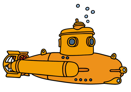 Hand drawing of a yellow small submarine - not a real model