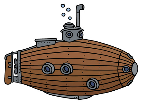 underwater ocean: Hand drawing of an old wooden submarine - not a real model