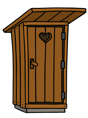 Hand drawing of a funny old wooden latrine shack