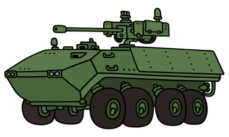turret: Hand drawing of a green wheel armored vehicle - not a real model Illustration