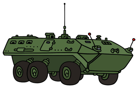 vehicle combat: Hand drawing of a green wheel troop carrier - not a real model Illustration