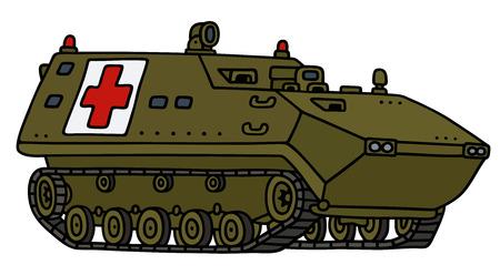 Disegno a mano di una traccia blindato veicolo dell'ambulanza - non un vero e proprio modello