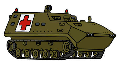 armoured: Hand drawing of a track armored ambulance vehicle - not a real model