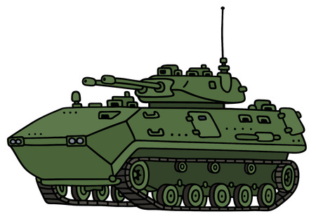 armored: Hand drawing of a green track armored vehicle - not a real model