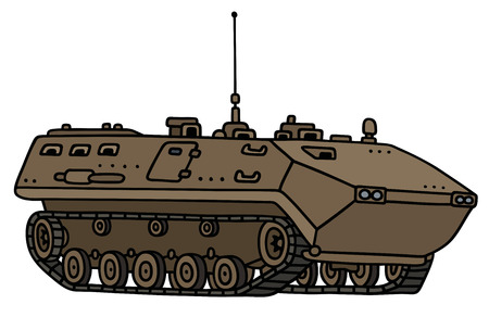 vehicle combat: Hand drawing of a sand track troop carrier - not a real model