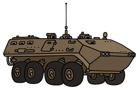 vehicle combat: Hand drawing of a wheel troop carrier - not a real model