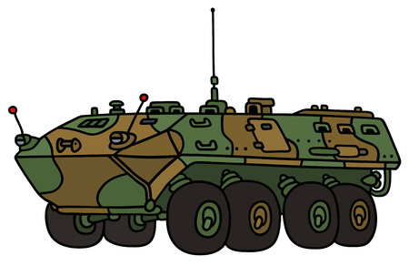 troop: Hand drawing of a camouflage wheel troop carrier - not a real model