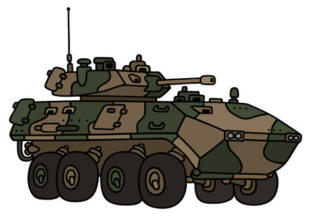 armored: Hand drawing of a camouflage track armored vehicle - not a real model