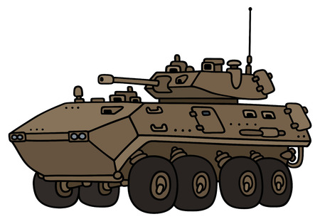 Hand drawing of a sand track armored vehicle - not a real model