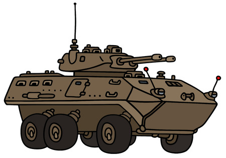armored: Hand drawing of a sand wheel armored vehicle - not a real model Illustration