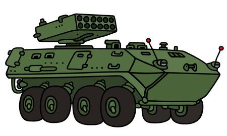 手描きの緑の輪の装甲車 - 実際のモデルではないの  イラスト・ベクター素材