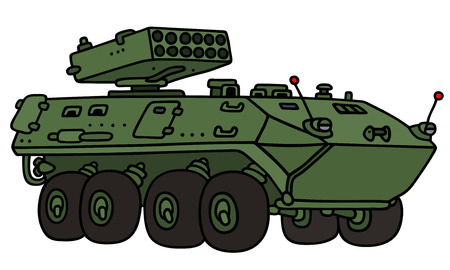 armored: Hand drawing of a green wheel armored vehicle - not a real model Illustration