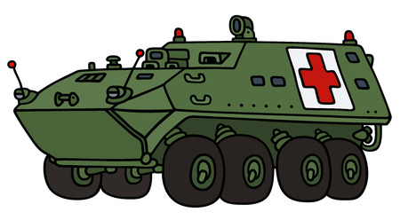 armored: Hand drawing of a military ambulance wheel armored vehicle - not a real model