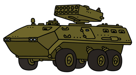 armored: Hand drawing of a wheel armored vehicle - not a real model Illustration